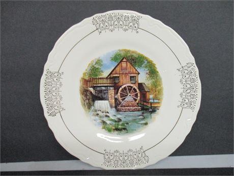 "Vintage 22Kt Gold Old Grist Mill 10 1/2"" Canada Decorator Plate"