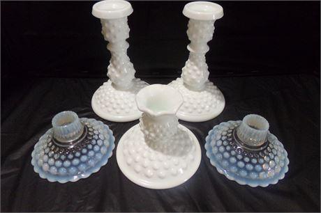 Fenton hobnail candle holders
