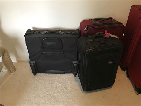 Three pieces of Luggage including Samsonite Hard Shell Garment Bag