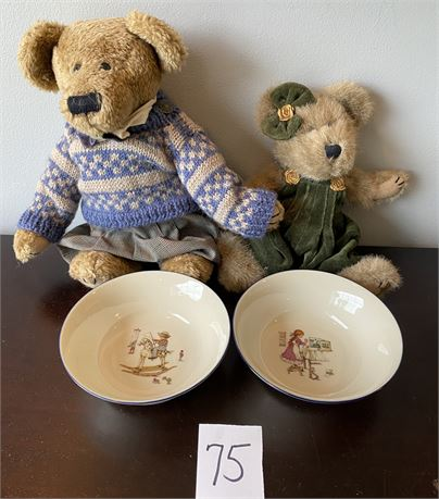 """Lenox """"Special"""" Cereal Bowls and Two Untagged Boyds Bears"""
