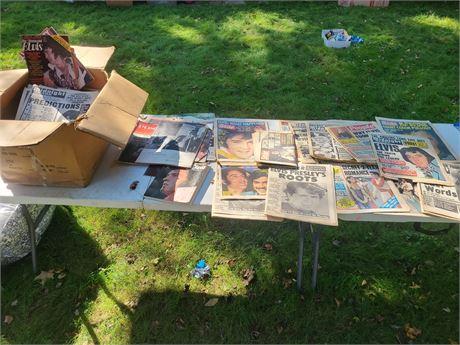 "Huge Lot Of Old Newspapers ""ELVIS"" Headlines/Magazines & More"