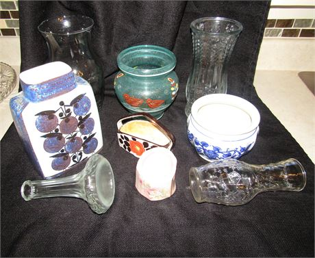Assortment of Crystal and Glass Vases and Centerpiece Bowls