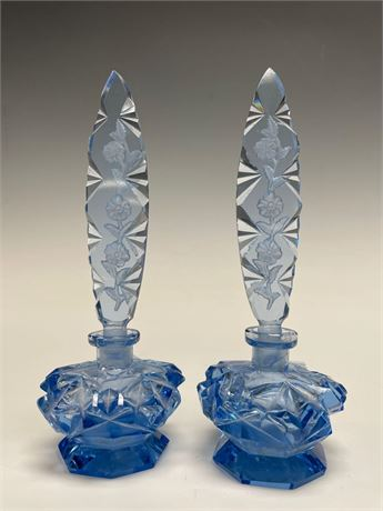 Czechoslovakian 1920's Blue Glass Perfume Bottles with Stoppers