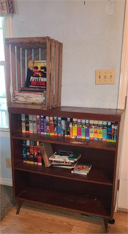 Small Wood Book Stand & Crate w/ Books & Mags