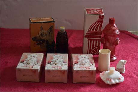 AVON Cologne/Perfume bottles-Cats/German Shepherd/Fire Hydrant-Includes boxes