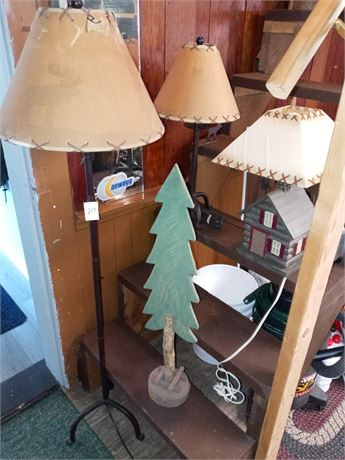 Floor lamp and 2 table lamps, pine tree decor
