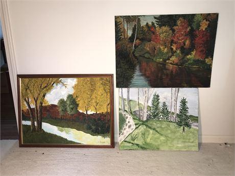 Three Original Landscape Paintings - see description