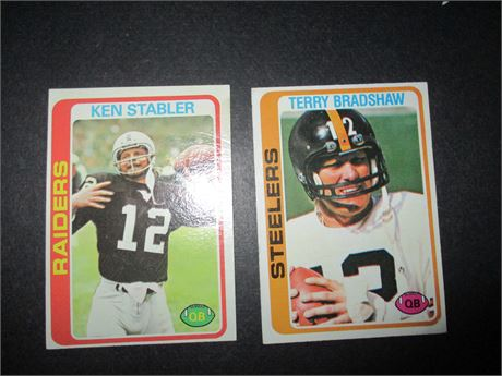 Ken Stabler 365 & Terry Bradshaw 65 1978 Topps NFL Player Cards