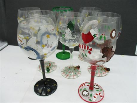 Vintage 8 Pieces Hand Painted Christmas Stemmed Wine Glasses