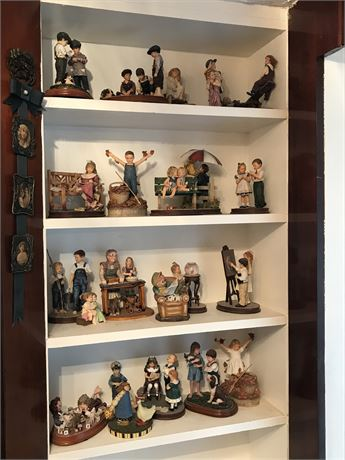 3 Shelves of Childhood Figurines (pictured as 4 shelves then consolidated to 3)