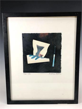 """Andrea Hahn Acrylic Mixed Media """"Fish Tale"""" Artwork"""