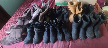 Women's Winter Boot Lot Plus Shoe Rack 12 PAIRS SIZE 8 MED