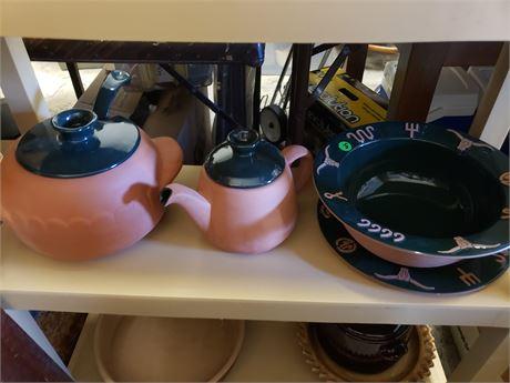 Frankoma Cattle Brand Longhorn Pottery lot