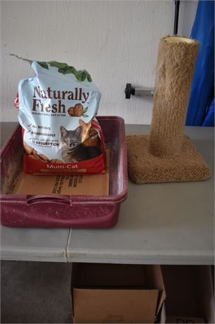 Lot of Cat Supplies-2 litters boxes, scratching post, natural kitty litter