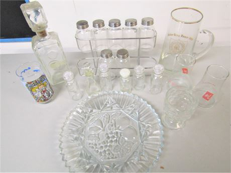 Bourbon Decanter, Pressed Glass Serving Platter and More