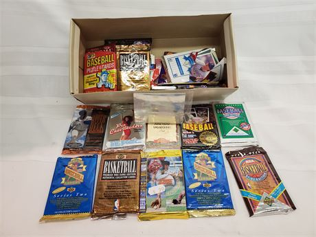 Box of Opened Packs of Cards