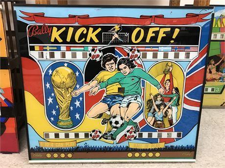 Bally's Vintage 1977 Kick Off Pin Ball Machine Glass