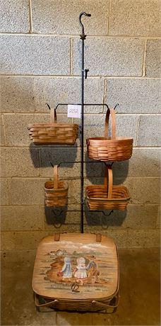 Longaberger Foundry Wrought Iron Basket Stand w/Baskets