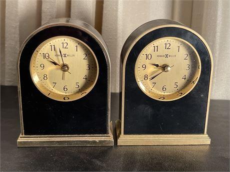 Pair of Howard Miller Art Deco Alarm Clocks