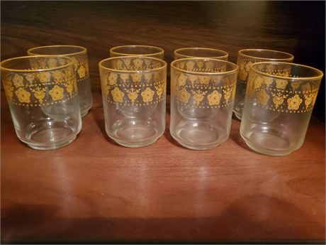 Set of 8 Butterfly Gold Juice Glasses