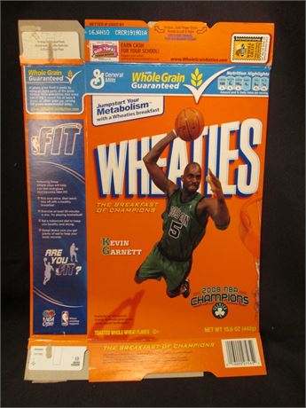 New Opened Flat Kevin Garnet Wheaties Cereal Box