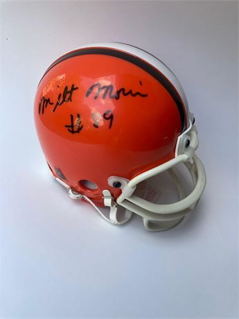 Milt Morin and Kevin Johnson Autographed Browns Mini-Helmet