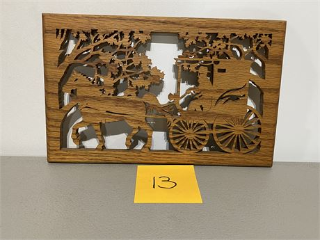 Vintage Handmade Horse Drawn Carriage Silhouette Scroll Saw Creation