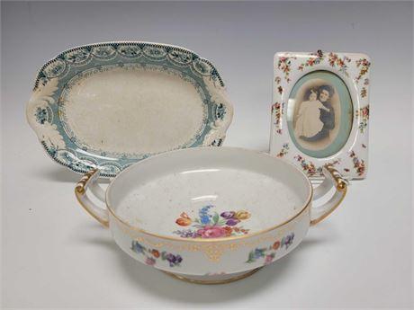 Mosaaic Bavaria Porcelain Picture Frame, Venetian Platter and Noritake Serving B