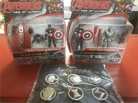 Captain America Age of Ultram Figures & Avengers Pin sets