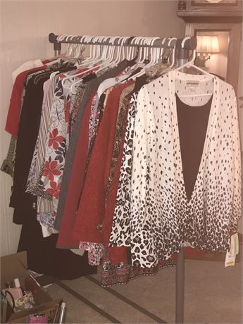 Rack of Women's Clothes (some new with tags) and Rack is included