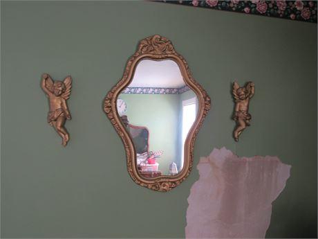 Cherubs & Mirror Vintage Decor, Plastic