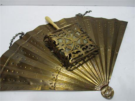 Art Nouveau Solid Brass Art Wall Fan W/ Clothes Brush Holder
