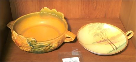 Roseville Pottery Bowl and Nippon Dish