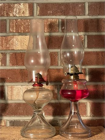 Two Unmatched Hurricane Oil Lamps