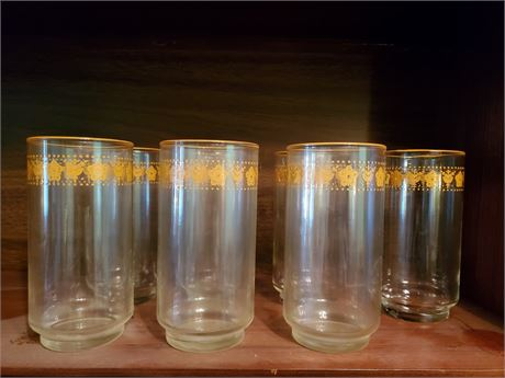 Set of 7 Butterfly Gold Tumblers