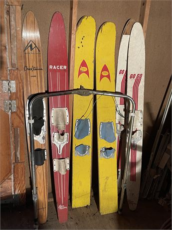 Two Sets of Water Skis, Two Slalom Water Skis And Water Ski Bar