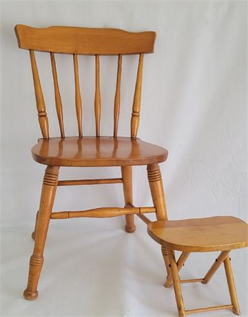 Maple Spindle-Back Chair & Fold-Up Footstool
