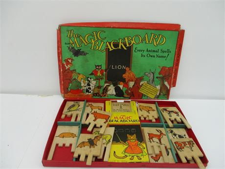 Antique 1940's Rippon The Magic BlackBoard Action Toy Card Game