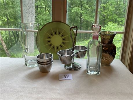 Unique Housewares Lot with Sterling Silver Serving Caddy