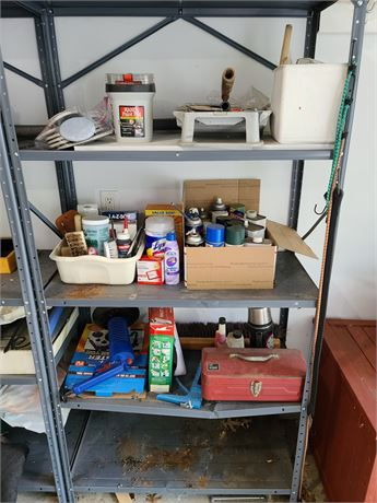 Lot Paints, Stains, small tool box, painting supplies