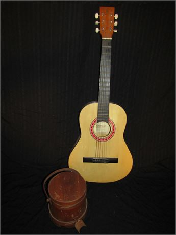 Junior size Guitar and Wood Canister