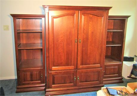 Solid Cherry Entertainment Armoire With Side Bookcases
