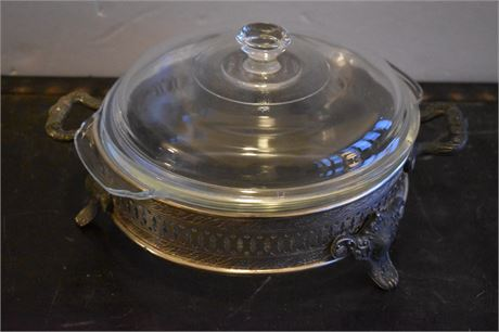 Anchor Hocking serving bowl in silverplate footed base