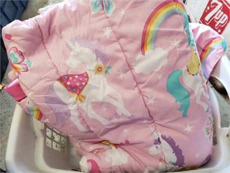 Unicorn comforter and shams w/ twin sheet set in clothes basket