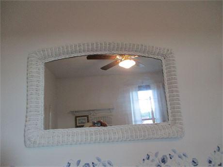 "Premium Vintage May Co 36"" White Wicker Dome Top Mirror"