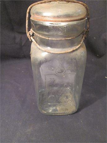 Vintage Queen Brand Clear Glass Wire Lid Quart Jar