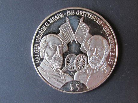 Republic of Liberia $5 Civil War coin! Gettysburg, Generals Meade and Lee!