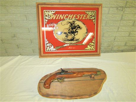 Ultra Hi Pistol and Vintage Winchester Repeating Arms Co. Framed Glass Wall Art