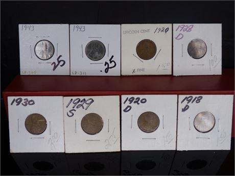 Lot of 8 Pennies, various years