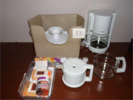 Coffee pot, bowls, baking supplies